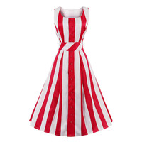 1950s Sexy Vintage Women Dresses 2017 Summer Striped Sashes Party Dress Sleeveless O Neck Tank Elegant