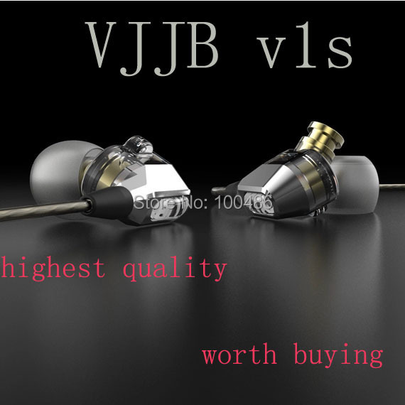 VJJB V1 V1S High Fidelity Professional Quality Stereo Inner-Ear Earphones with(out) mic ,double circle hifi earphone
