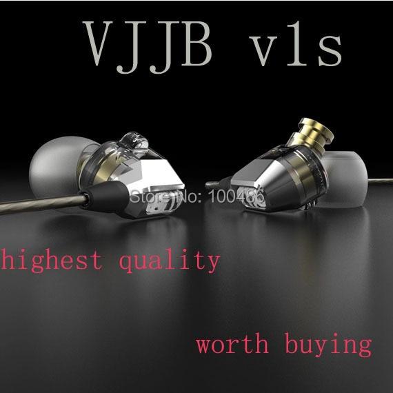 VJJB V1 V1S o wysokiej wierności profesjonalnej jakości Stereo ucha wewnętrznego słuchawki z (na zewnątrz) mikrofon, podwójne koło hifi słuchawki