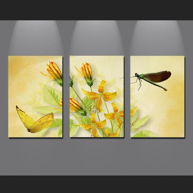 3 Panel Flowers and Dragonfly Wall Painting Printed painting On ...