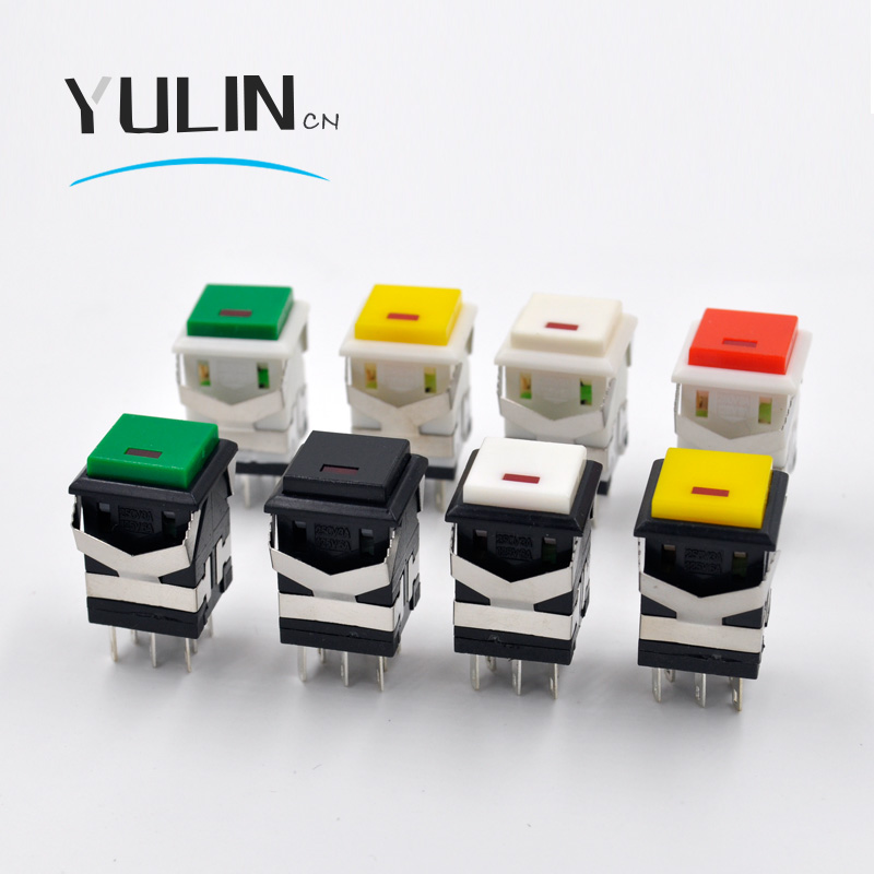 5PC/lot KD2-21 self-locking with 3v led switch 3A/250V 6A/125V Snap-in 2NO2NC Square Push Button