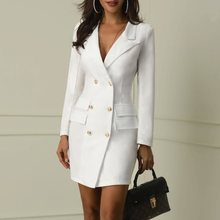 Office Dress Women Elegant White Formal Stylish Work Wear Ladies Autumn New Long Sleeve Business Black Mini Sexy Bodycon Dresses