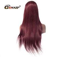 Бордовый парик 99J # Синтетические волосы на кружеве парик бразильский Прямо Синтетические волосы на кружеве человеческих волос парики для Д