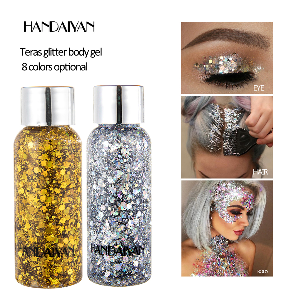 NEW 8 Colors Metal Eyeshadow Laser Sequins Flash Glitter Makeup Soft Glitter Shimmering 3D Eye Makeup Party Makeup Palette