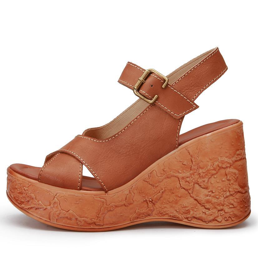 5ed0e9bd4 ... gladiator Sandals Platform women flat sandals Wedges Genuine leather  Sandalias Summer women Open ladies 2018 sandals ...