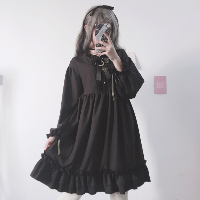 2018 Japanese Cute Fashion Black Dress For Women Korean Kawaii Bow Lace Gothic Style Loose Girls Lolita dress FF1370 S