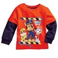 2017 Meninos Da Marca T-shirt Dos Desenhos Animados Da Pata Do Cão Impressão Crianças Tops Roupas Das Meninas dos meninos T-shirt Do Bebê Crianças Blusa Manga Longa Esportes camisa