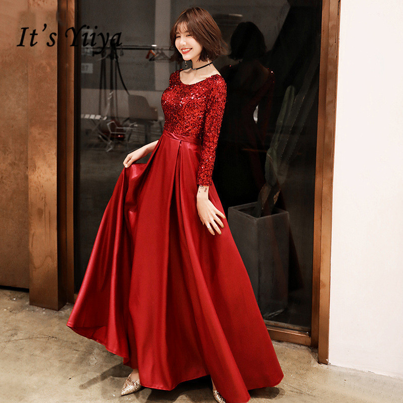 It's YiiYa Evening Dress Shining Little Sequins Design Wine Red Formal Dresses O-neck Lace Up Long Party Gown  E138