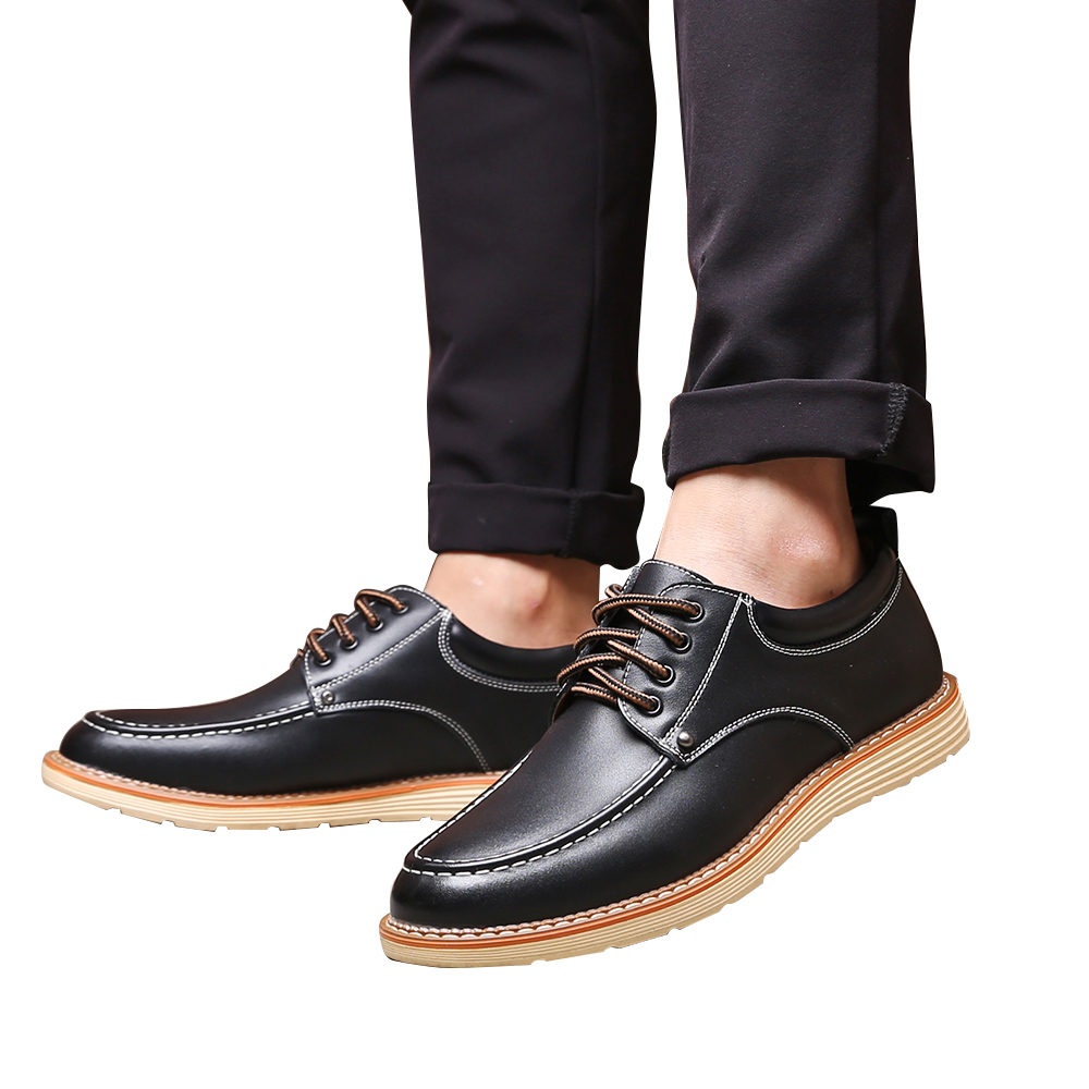 Mens Shoes Oxfords 2019 New Business Formal Lace up Shoes Breathable Leather Casual Solid Fashion Flat Pointed Male Shoes in Formal Shoes from Shoes