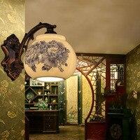 Ceramics Antique Wall Light E27 Chinese Style Retro Living Dining Room Bedroom Metal 110 220V Indoor