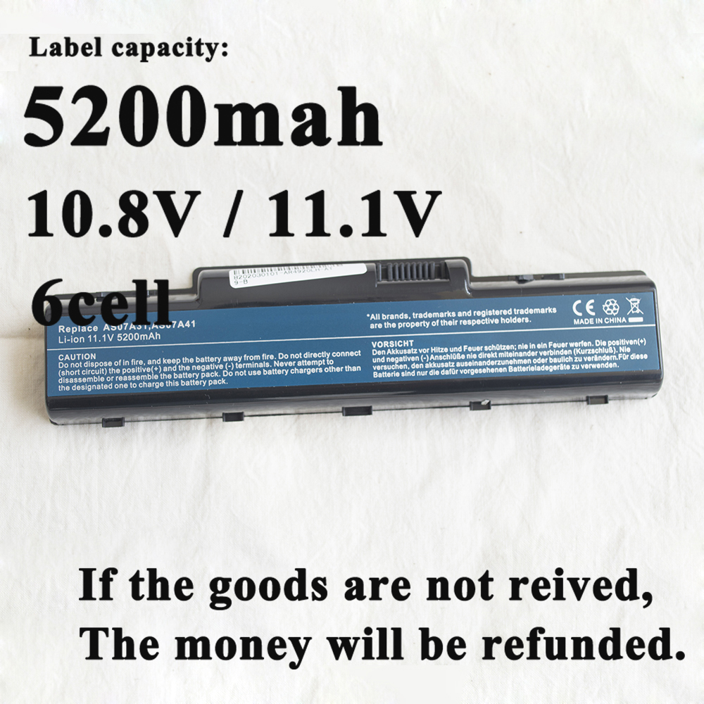 Laptop Battery for Acer Aspire 4930g AS07A31 AS07A32 AS07A41 AS07A51 AS07A52 AS07A71 AS07A72 AS07A75 AK.006BT.020 AK.006BT.025 image