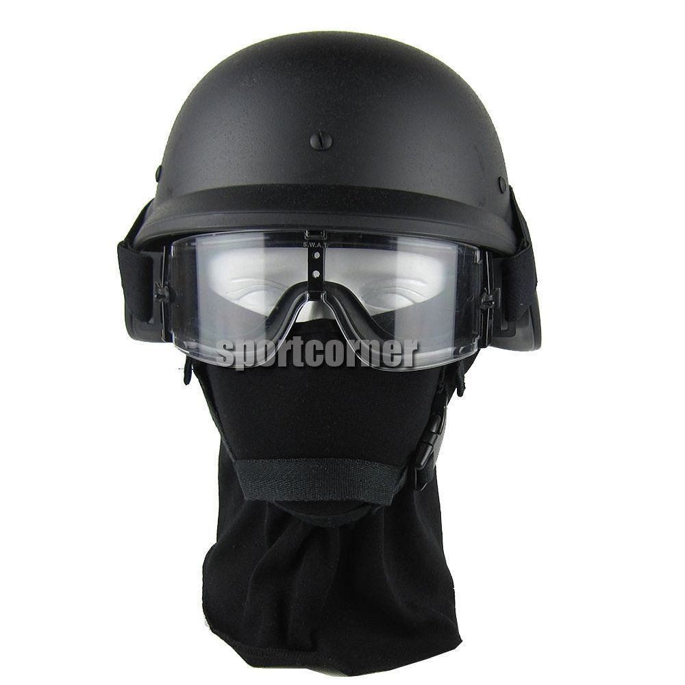 Tactical gear Hunting war game airsoft paintball New US plactic Airsoft M88 PASGT Helmet Black +X800 tactical hunting goggles
