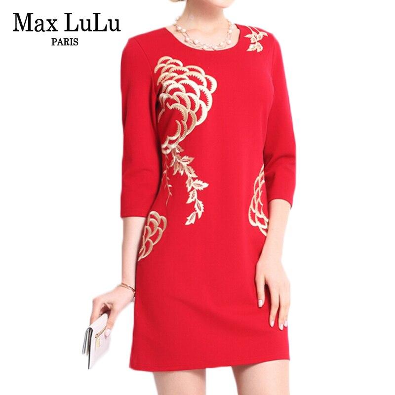 MAX Lulu брендовая одежда 2017 Китай Стиль модные Цветочный принт красное платье женские пикантные Slim Fit Осень Bodycon женщин Платья для женщин Бесплатная - 2