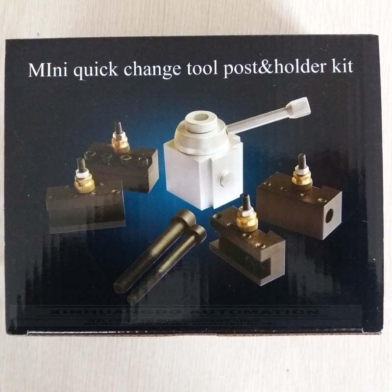 Mini Metal Quick Change Tool Post Holder Boring Turning Facing Holder Kit Set for Table Hobby