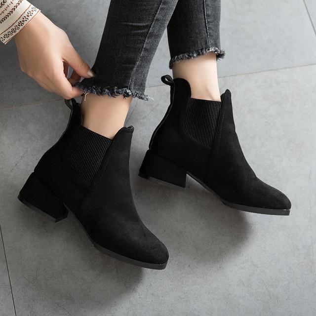 eb5d989b291 Winter Boots women 2018 Black Ankle Boots Women Thick Heel Slip On Ladies  Shoes Martin Boots Bota Feminina women winter shoes