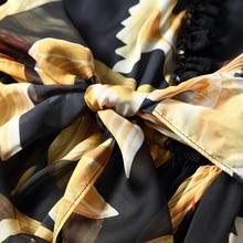 High Quality New 2017 Fashion Runway Summer Dress Women's Sexy V-neck Lace Patchwork Vintage Chiffon Printed Dress
