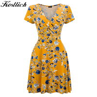 Kostlich 2017 Thin Style Floral Print Summer Dress Women Short Sleeve V Neck Party Dresses Hepburn