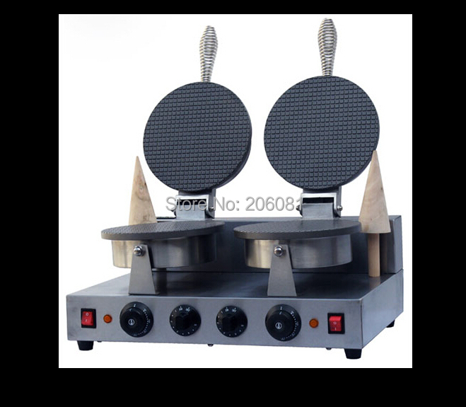 220V Electric Non stick double Head ice cream waffle cone baker/waffle cake Ice Cream Cone Maker /CONE SHAPE WAFFLE BAKER/