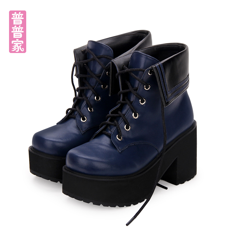 Princess sweet lolita shoes Japanese cool wind High heeled round head thick muffin collar Navy tie short boots women pu8878Princess sweet lolita shoes Japanese cool wind High heeled round head thick muffin collar Navy tie short boots women pu8878