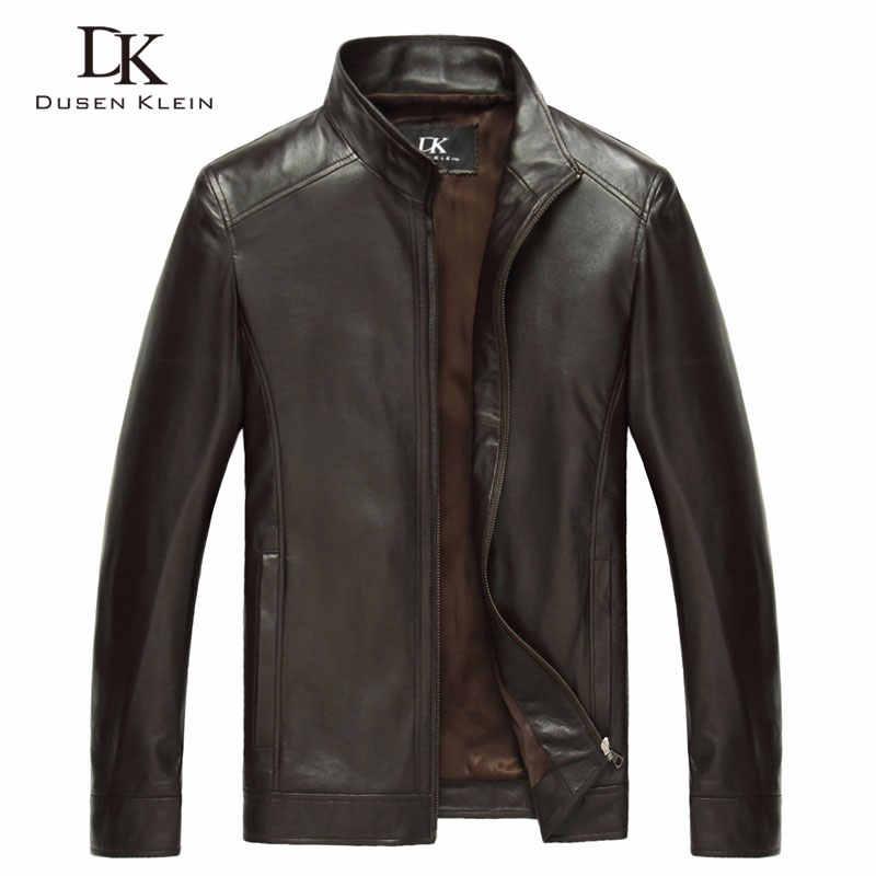 2d3f7500631 Роскошные мужские из натуральной овчины кожаная куртка бренд Дюсенов Klein  men тонкий дизайнер весенней кожаные пальто