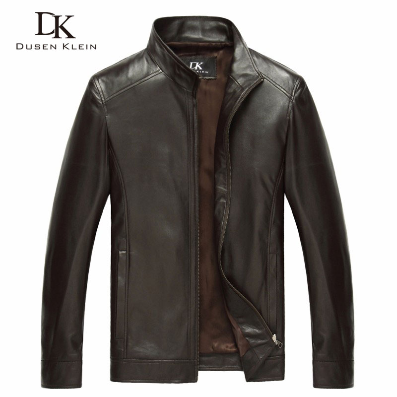 Chaqueta de piel de oveja auténtica de lujo marca Dusen Klein hombres slim diseñador primavera cuero abrigos negro/marrón 14B0109