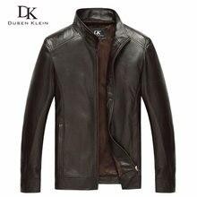 Luksusowy mężczyzna prawdziwa skóra owcza kurtka marki Dusen Klein mężczyźni zgrabny projekt wiosna kurtki skórzane czarny/brązowy 14B0109