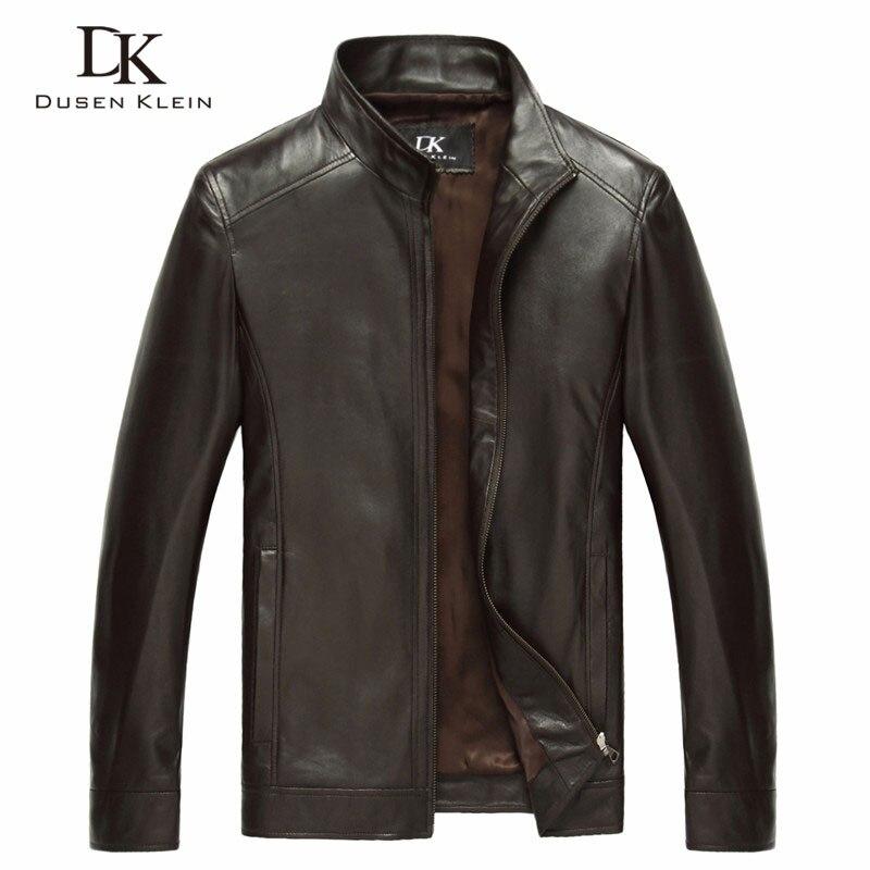 Luxo Genuíno couro de pele de carneiro primavera Designer de Marca jaqueta Dusen Klein magro dos homens casacos de couro Preto/Brown 14B0109