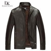 Luxury Genuine sheepskin leather jacket Brand Dusen Klein men slim Designer spring leather coats Black/Brown 14B0109