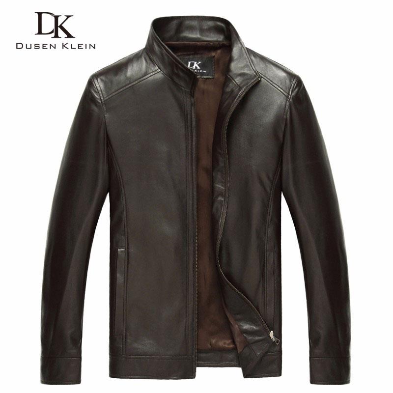 Uomo di lusso di pelle di pecora Genuino giacca di pelle di Marca Dusen Klein uomini sottile della molla Del Progettista cappotti di pelle Nero/Marrone 14B0109