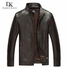 หรูหราของแท้ sheepskin หนังยี่ห้อ Dusen Klein Slim Designer ฤดูใบไม้ผลิเสื้อหนังสีดำ/สีน้ำตาล 14B0109