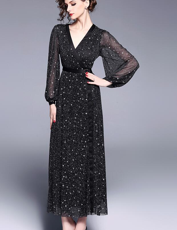 High quality 2018 Summer New Arrival V Collar Western Style Elegant Lantern Sleeve Woman Long Chiffon Dress Black