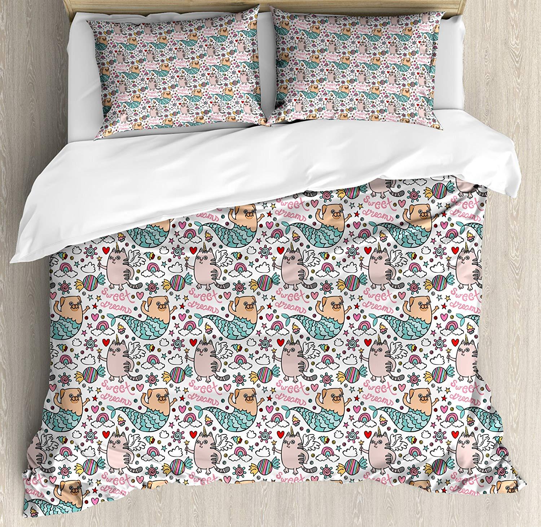 Sirène housse de couette ensemble doux rêves thème licorne chat et carlin sirène bonbons arc-en-ciel motif fantastique