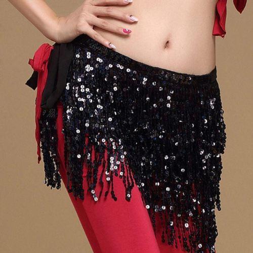 Belly Dance Dancer Costume Sequins Tassel Fringe Hip Scarf Belt Waist Wrap Skirts