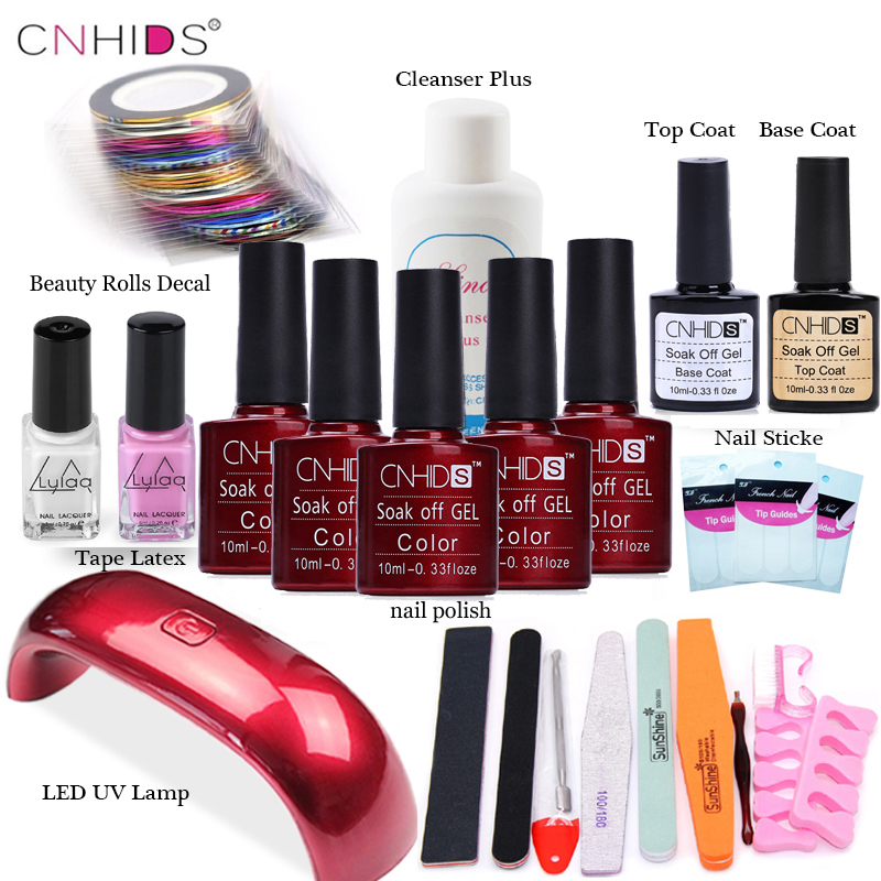 CNHIDS  Nail Art Pro DIY Full Set Soak Off Uv Gel Polish Manicure set 9W Curing Lamp Kit any 5 colors &base top Set nail gel diy 3d gold silver transparent mini caviar beads gel polish nail art tips charm metallic pearl ball pro manicure pedicure