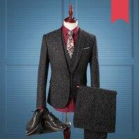 Английский джентльмен комплект из 3 предметов костюм 2019 костюмы для мужские черные в клетку твид с учетом Свадебные Для мужчин s костюм (курт