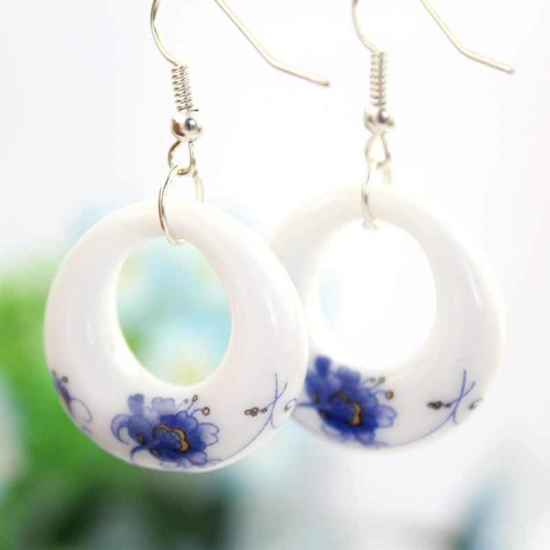 Fashion Romantic Blue and White Porcelain OL Earring Water Drop - Fashion Jewelry - Photo 2