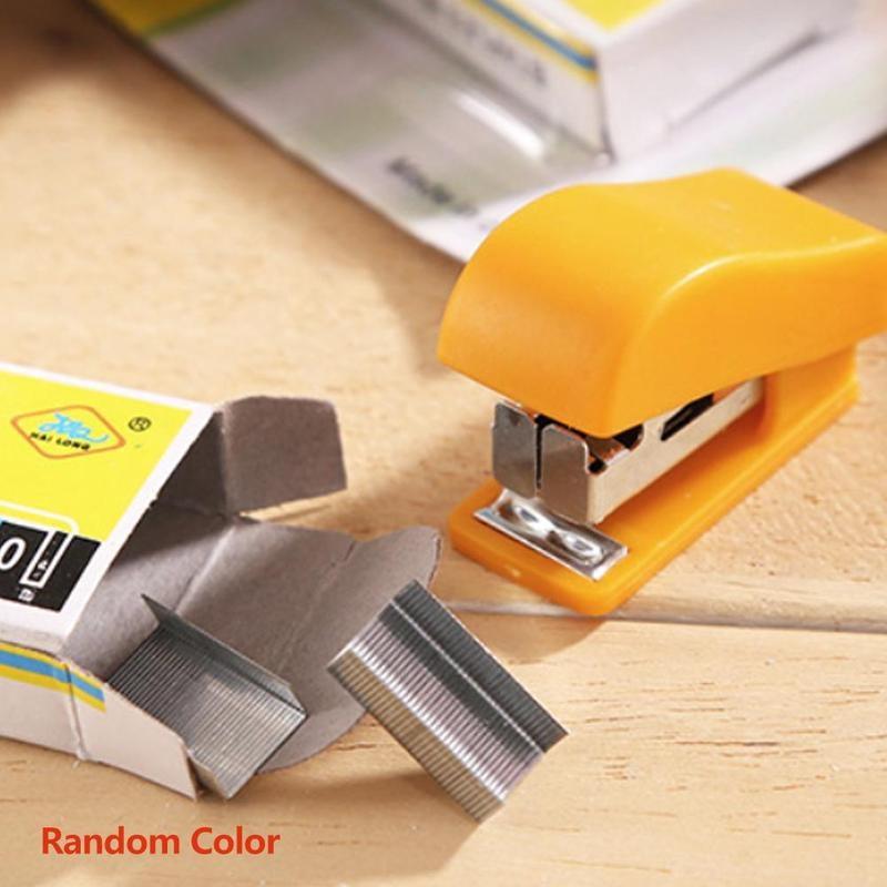1set (1 Pc Stapler+staples) 3 Colors Random Colorful Mini Stapler Portable Stapler For 10# Staples Stationery Office Learning