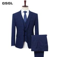Blazers Pants Vest Sets / Plus Size L-9XL Spring Autumn New Fashion Suits / Men's Casual Business Plaid 3 Piece Suit Jacket Coat