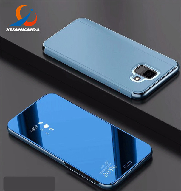 the best attitude 7ccc9 a8ad2 US $9.97 |For Samsung Galaxy A6 Plus A6+ A8 A8+ J6 J6+ 2018 Note8 S9 S8  Clear View Smart Flip Chrome Mirror Wallet Style Phone Cover Case-in Wallet  ...