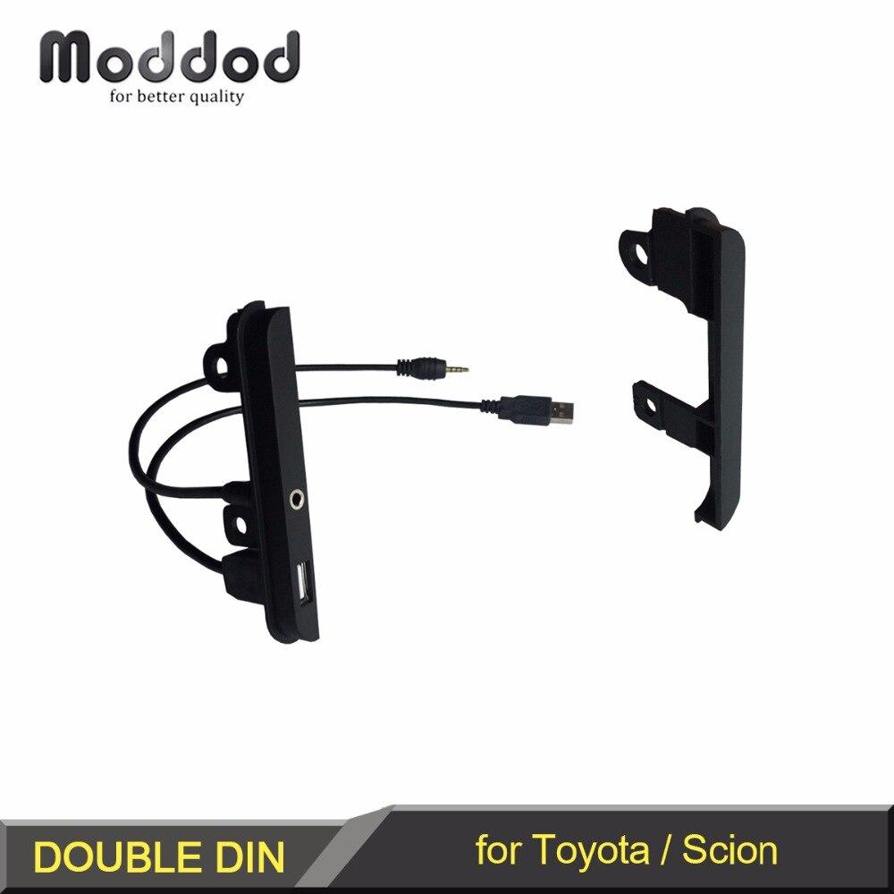 Double DIN Dash Kit สำหรับ Toyota Scion AUX + USB Port ติดตั้งวิทยุด้านข้าง Trim Fascia กรอบ