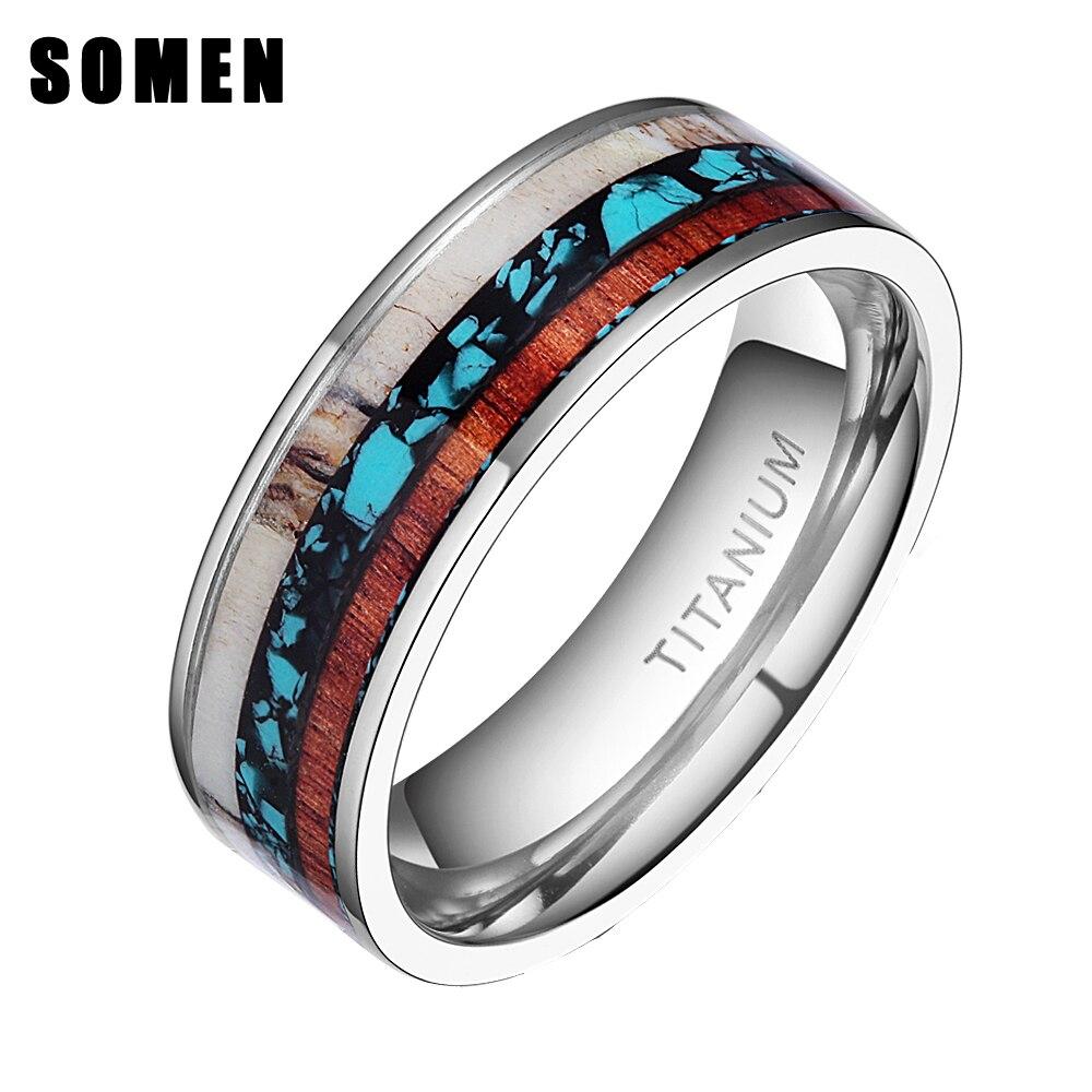 8mm Vintage Holz Geweih Inlay Titan Ring Verlobung Ringe Für Frauen Männer Hochzeit Band Mode Liebe Ring Schmuck anillos mujer