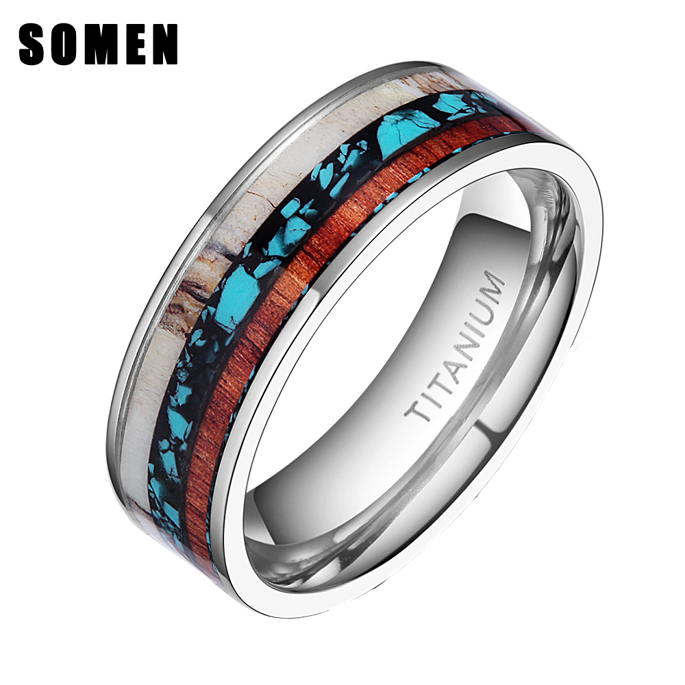Somen 8mm Wood Grain Titanium Ring Men Engagement Wedding Band Jewelry Deer  Antlers Inlay Flat Ring