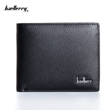 2018 New arrival baellerry short men's wallet high quality top Genuine leather purse for male short coin purse card purse