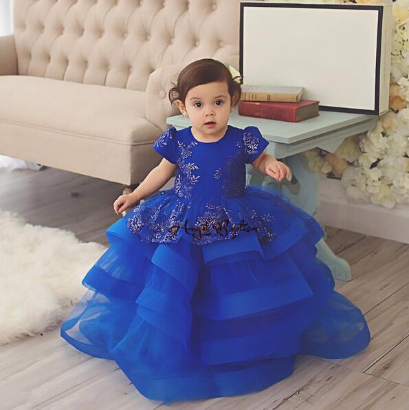 Gorgeous Blue lace flower girls dresses appliqued tutu dress tiered toddler pageant dresses for girl glitz prom evening party
