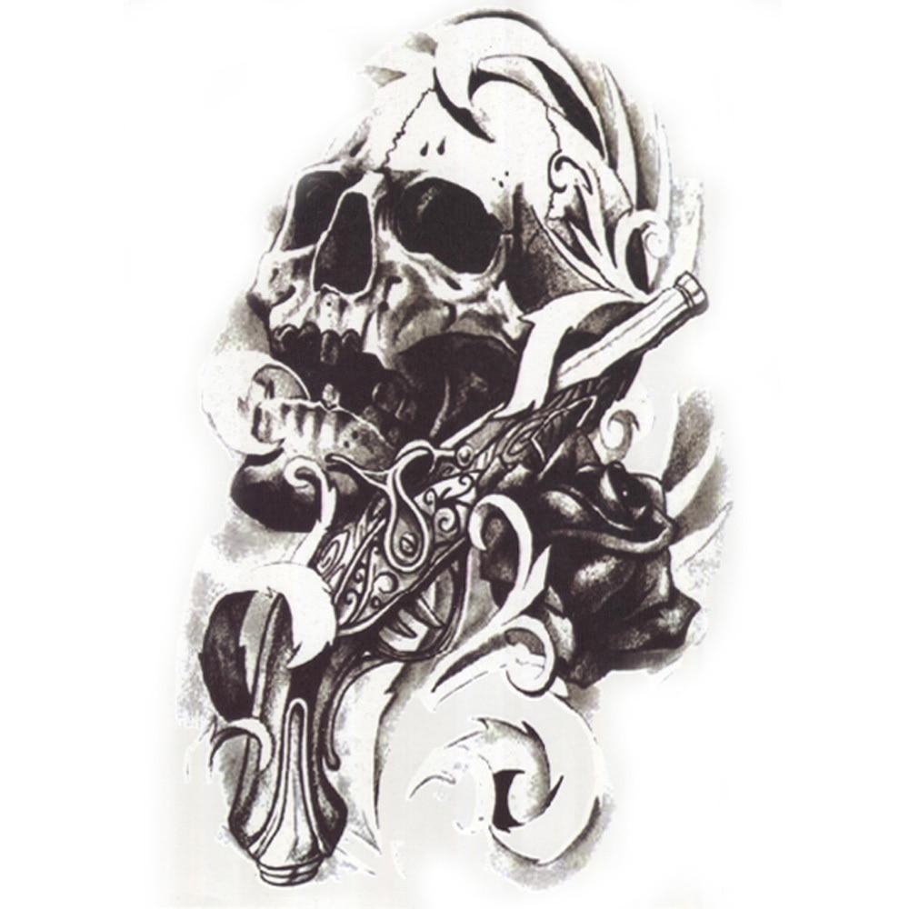 10x 3d Waterproof Body Leg Art Tattoo Sticker Handsome Skull Gun