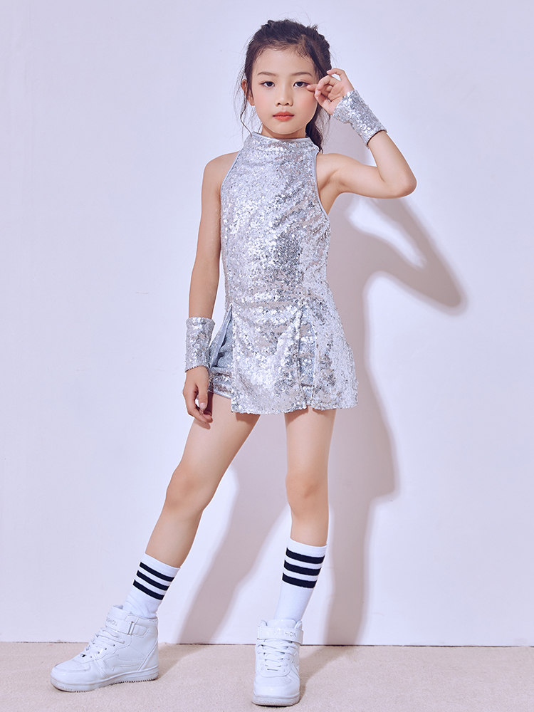 New Seqins Tap Jazz Dance Suit Kids Modern Dance costume Stree Stage Dance wear Performance european and american girls latin dance jazz dance professional dance costume stage performance apparel suit