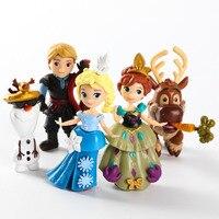 FILM Prinzessin Spielzeug Anna Elsa Olaf Sven Kristoff PVC Figuren Spielzeug Action-figuren Zum Sammeln Spielzeug 5 teile/satz 7 ~ 10 cm Urlaub geschenke