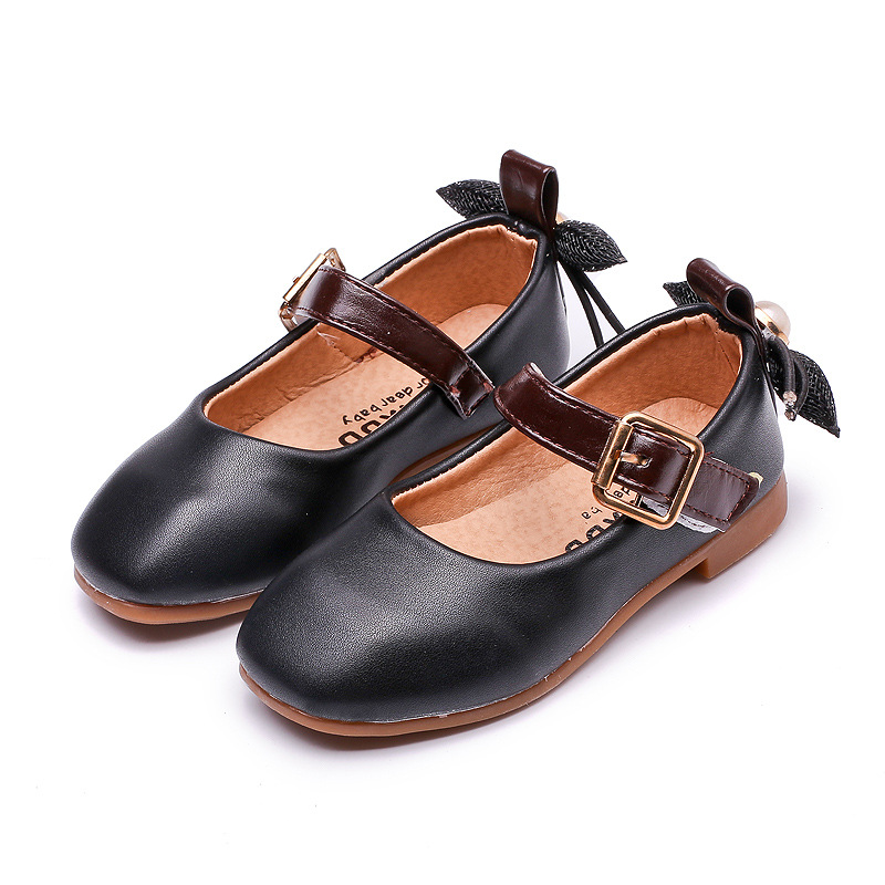Spring and autumn new fashion black bow pearl low with soft bottom princess shoes for girls kids pink PUgirls leather loafers