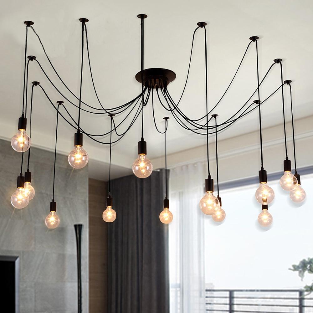 Moderne retro edison e27 vintage lampen antieke diy art spider hanglampen 2 meters lijn home verlichting schorsing in moderne retro edison e27 vintage