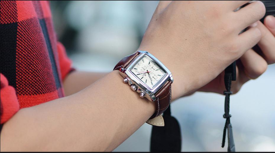 Topdudes.com - MEGIR Genuine Leather Chronograph Relogio Masculino Watch